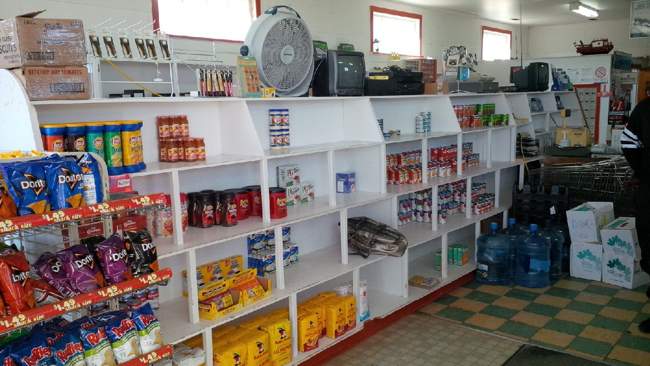 Well stocked shelves at Hubert & James general store, Keels Newfoundland