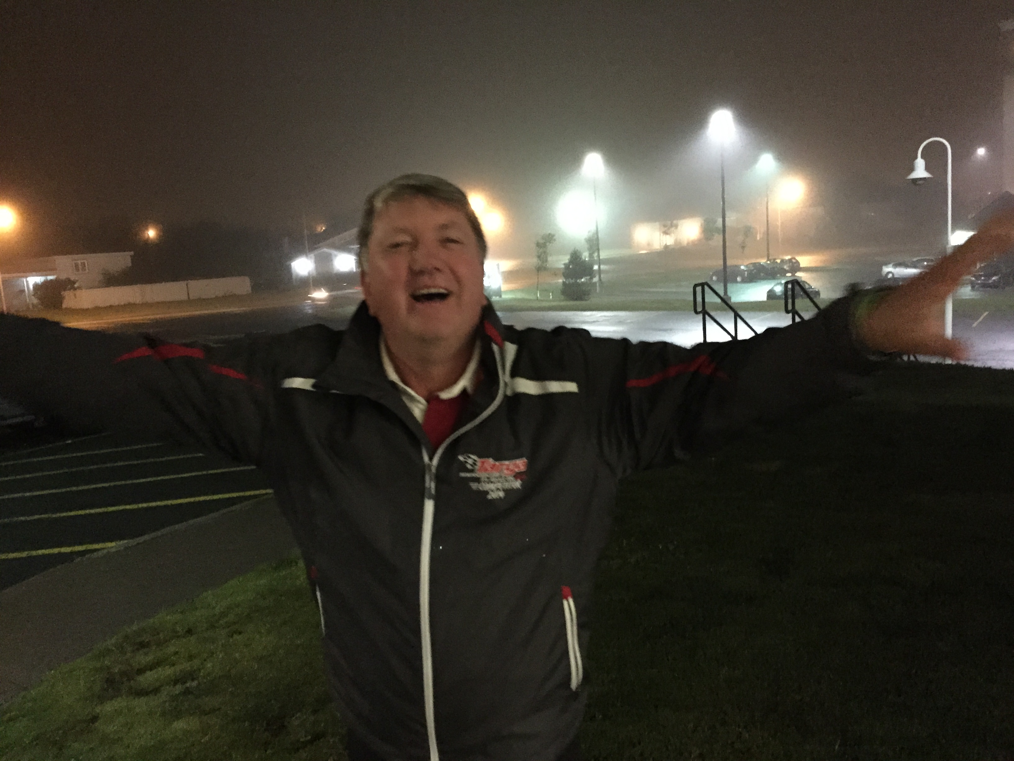 Craig MacMullen of Team Hume stands in the rain is St. John's, Newfoundland. (Post-tropical storm Henri)